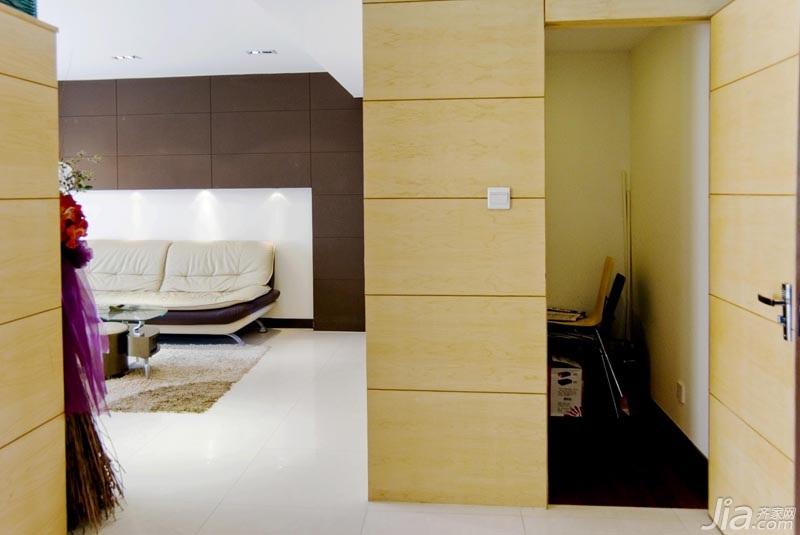 装修电视背景墙效果图 简约风格三居室米色富裕型100平米...