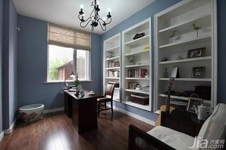 美式乡村风格别墅蓝色豪华型书房书架效果图