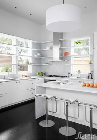 简约风格别墅白色富裕型厨房吧台吧台椅效果图