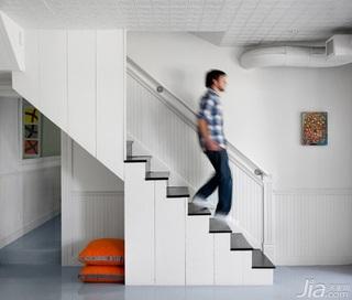 简约风格跃层白色富裕型楼梯海外家居