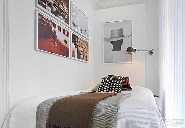 北欧风格小户型白色经济型40平米卧室卧室背景墙床海外家居