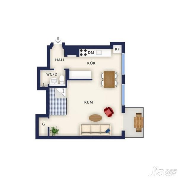 北欧风格小户型经济型40平米海外家居