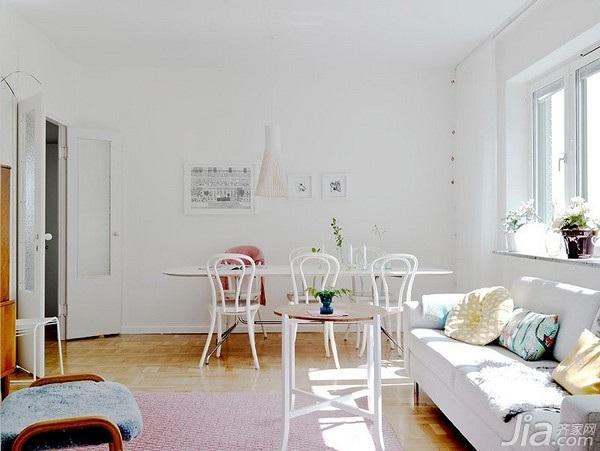 北欧风格二居室小清新白色经济型餐厅餐厅背景墙餐桌海外家居