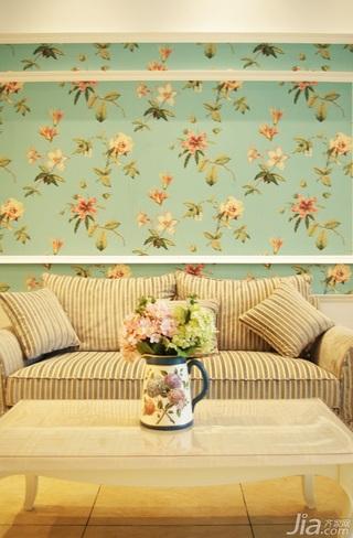 地中海风格复式浪漫蓝色富裕型130平米沙发背景墙壁纸婚房家装图