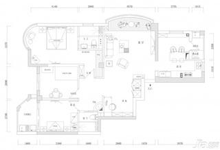 田园风格四房富裕型110平米户型图