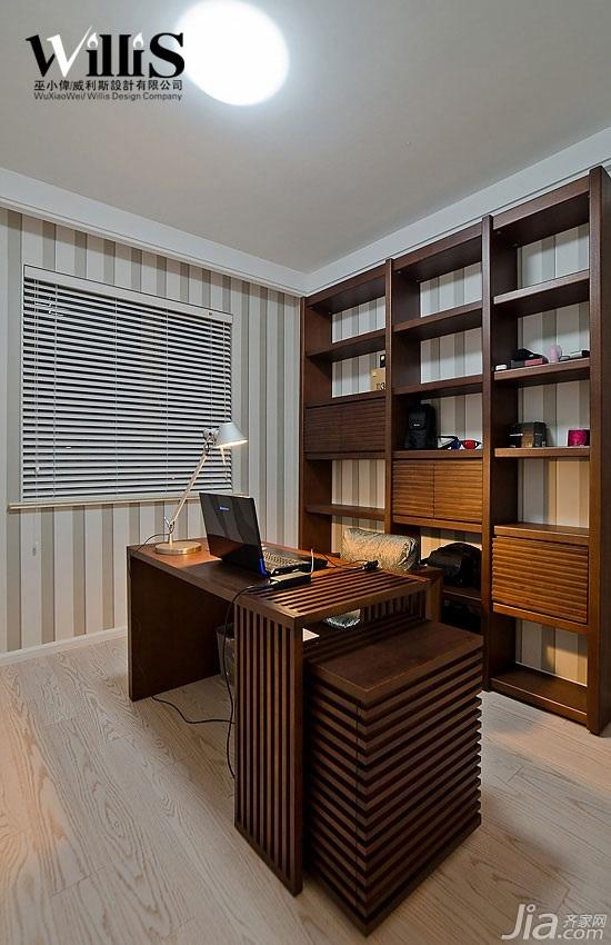巫小伟简约风格三居室富裕型130平米书房背景墙书桌图片