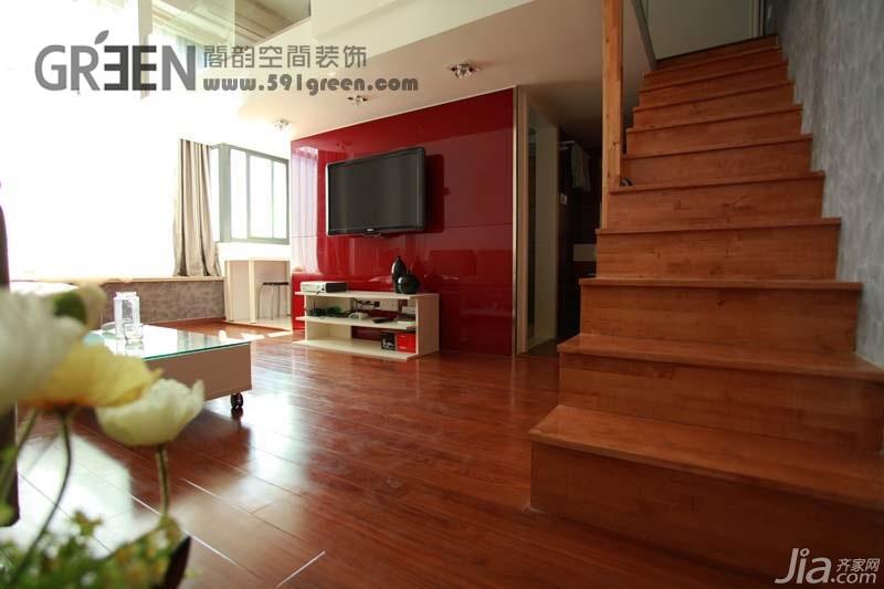 loft风格小户型经济型40平米客厅楼梯电视柜效果图