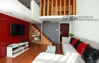 loft风格小户型经济型40平米客厅电视背景墙沙发效果图