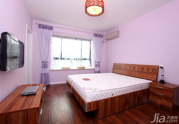简约风格小户型紫色经济型60平米卧室窗帘婚房家居图片
