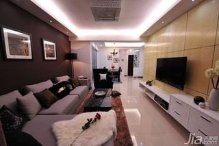 简欧风格二居室10-15万80平米客厅电视背景墙电视柜效果图
