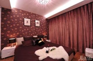 简欧风格二居室10-15万80平米卧室卧室背景墙壁纸效果图