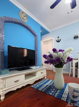 地中海风格小户型蓝色经济型50平米电视背景墙婚房家装图片