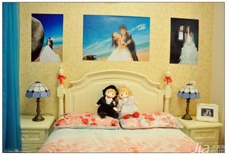 地中海风格公寓富裕型50平米卧室卧室背景墙床效果图
