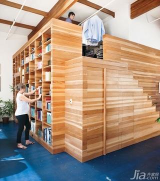loft风格跃层经济型楼梯书架图片
