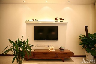 混搭风格复式富裕型电视背景墙电视柜效果图