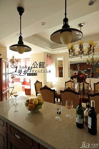 非空美式乡村风格别墅经济型140平米以上餐厅吧台餐桌效果图