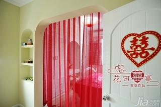 非空田园风格公寓红色经济型80平米卧室隔断床婚房家装图