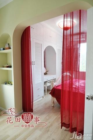 非空田园风格公寓红色经济型80平米卧室床婚房家装图片