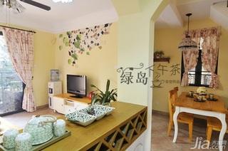 非空田园风格公寓经济型80平米客厅吧台餐桌效果图