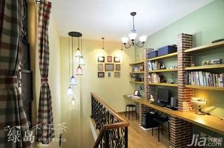 非空田园风格公寓经济型80平米书房书桌效果图