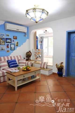 非空地中海风格三居室富裕型120平米客厅照片墙沙发效果图