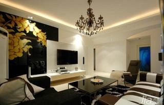 混搭风格一居室富裕型100平米客厅电视背景墙电视柜效果图