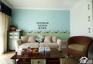 地中海风格浪漫客厅背景墙窗帘效果图