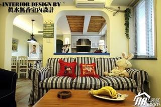 地中海风格浪漫米色客厅客厅隔断茶几效果图