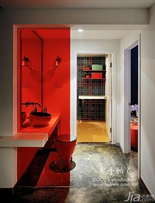 鬼手帕混搭风格小户型经济型60平米卫生间隔断洗手台效果图