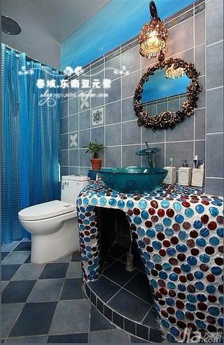 地中海风格浪漫蓝色卫生间隔断浴室柜效果图