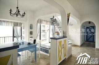 地中海风格浪漫蓝色餐厅客厅过道餐桌效果图