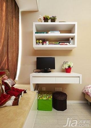 简约风格二居室富裕型70平米卧室书架效果图