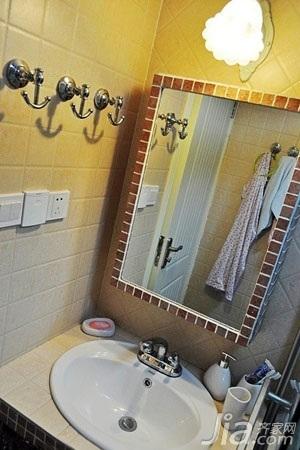 混搭风格小户型富裕型50平米卫生间洗手台婚房家装图