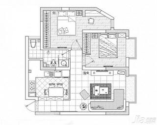 混搭风格小户型富裕型50平米婚房家装图片