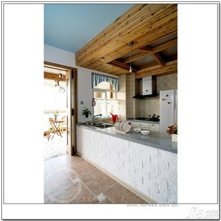 十上田园风格小户型经济型80平米厨房橱柜婚房平面图