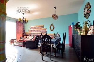 导火牛东南亚风格公寓经济型90平米客厅沙发效果图