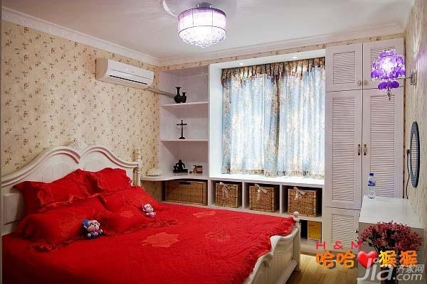 田园风格小户型经济型50平米卧室卧室背景墙床婚房家居图片