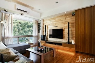 日式风格经济型120平米客厅电视背景墙电视柜效果图