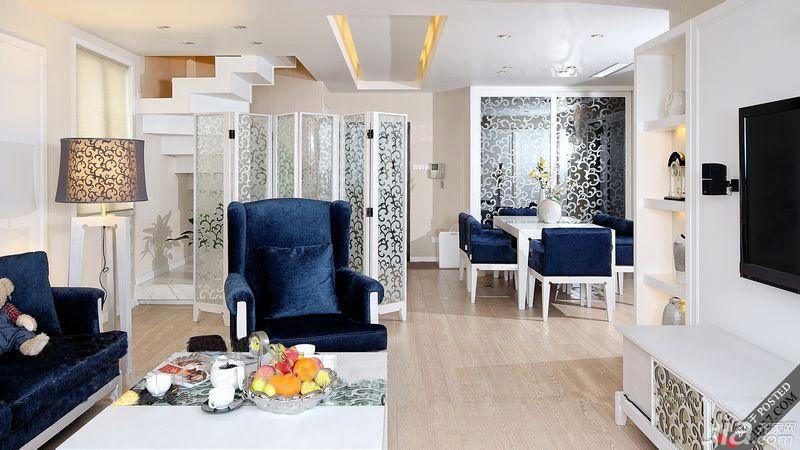 木水loft风格复式奢华富裕型客厅吊顶沙发图片