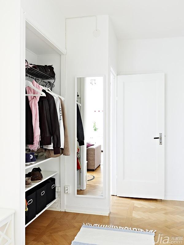 北欧风格二居室小清新白色富裕型110平米玄关玄关柜图片