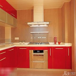 10款现代红色整体橱柜 给厨房添味