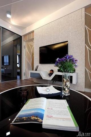 简约风格二居室富裕型80平米客厅电视背景墙电视柜效果图