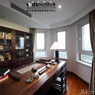 巫小伟中式风格跃层富裕型140平米以上书房书桌效果图