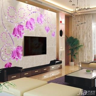 混搭风格富裕型120平米客厅电视背景墙电视柜效果图