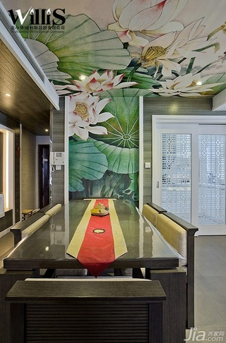 巫小伟中式风格复式大气富裕型140平米以上餐厅餐厅背景墙餐桌效果图