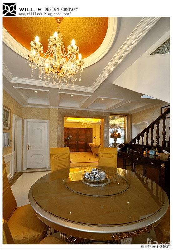 巫小伟欧式风格别墅奢华豪华型140平米以上餐厅楼梯餐桌效果图