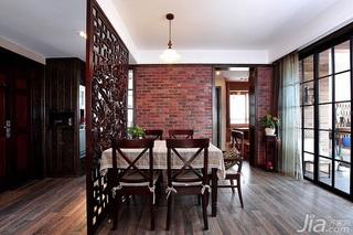 混搭风格二居室富裕型90平米餐厅隔断餐桌效果图