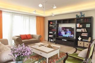三米设计简约风格公寓唯美经济型130平米客厅电视背景墙沙发婚房家装图片