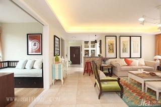 三米设计简约风格公寓唯美经济型130平米客厅沙发婚房家装图