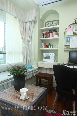 三米设计田园风格公寓经济型140平米以上书房飘窗书桌效果图